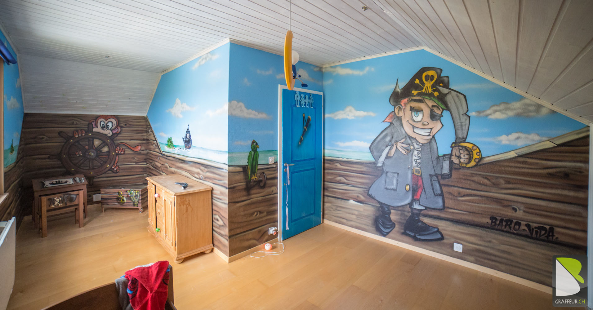 Children kids room graffiti uae - Deco pirate chambre garcon ...
