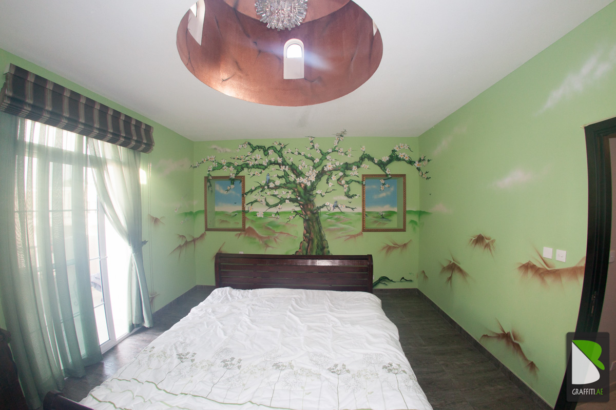 Living Room Room Deco graffiti room deco dubai cherry tree art tree