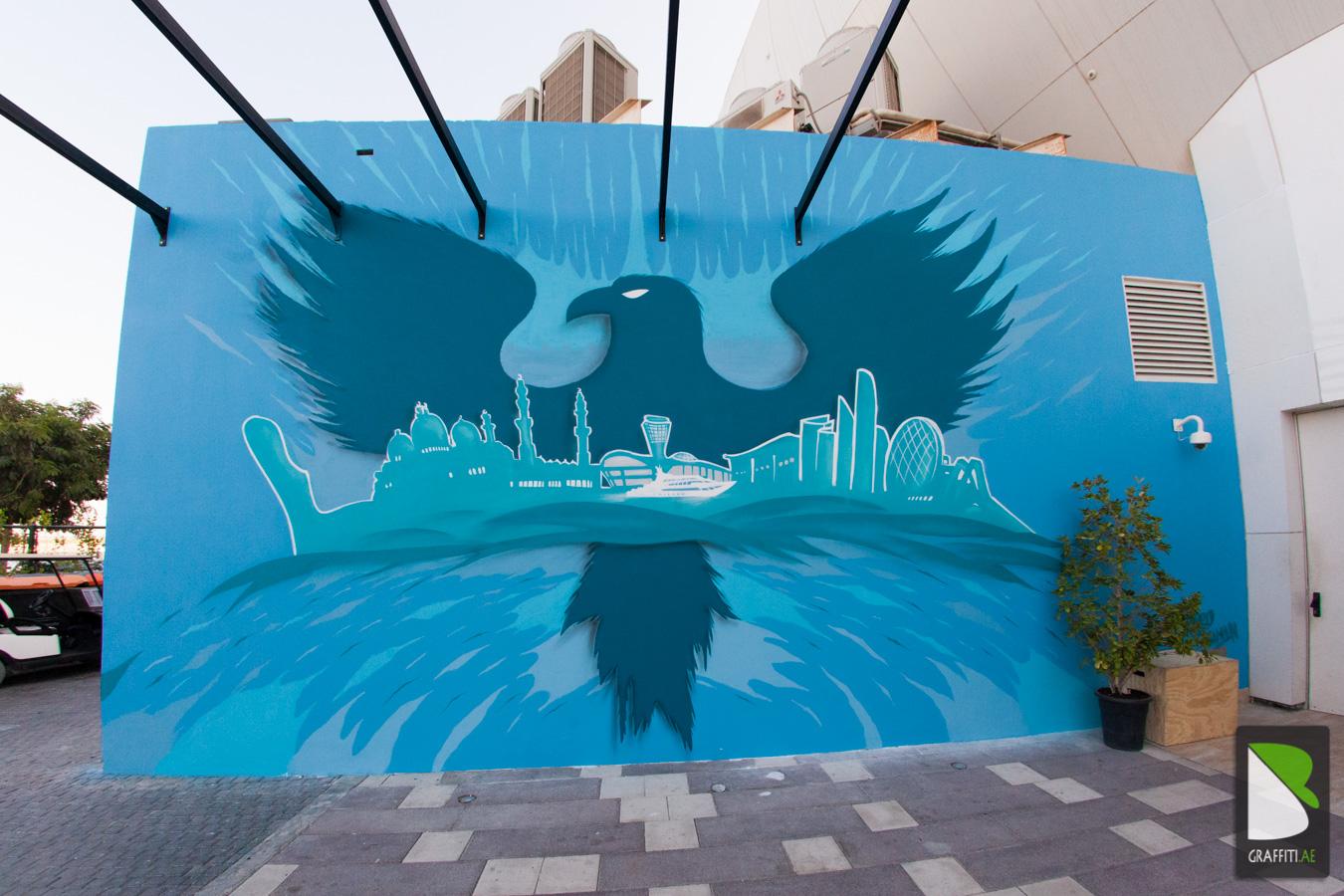 Graffiti wall uae - Uae Falcon Graffiti Yas